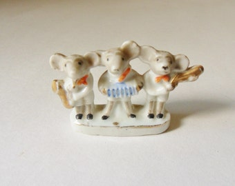 Mouse Musicians Figurine, Three Mice Playing Musical Instruments, Musical Mice Miniature