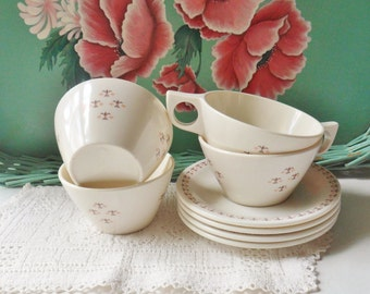 Four Melmac Cups and Saucers, Regal Melamine Dinnerware, Wheat Pattern White Cups and Saucers