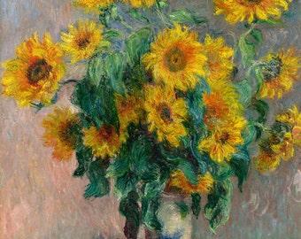 Claude Monet Reproduction: Bouquet of Sunflowers, 1881. Fine Art Print.