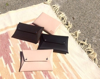 LEATHER ENVELOPE WALLET • Leather envelope clutch • Leather envelope purse • Leather card holder • Leather wallet • Card wallet