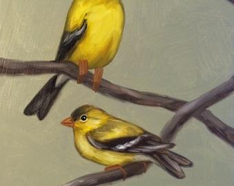 Original Oil Painting Pair Of Goldfinches