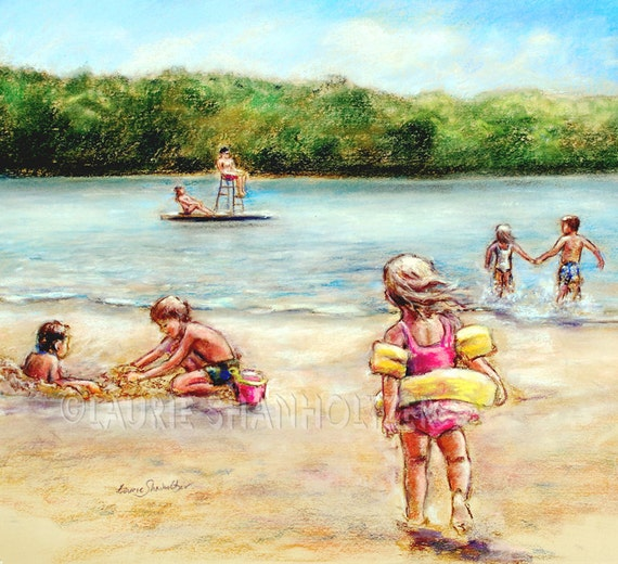"""Beach summer Children playing """"Childhood Days at the Lake""""  Laurie Shanholtzer Canvas or Cotton art paper print,"""