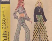 60s Blouse, Bell Bottoms & Maxi Skirt Pattern McCalls 2180 Size 12
