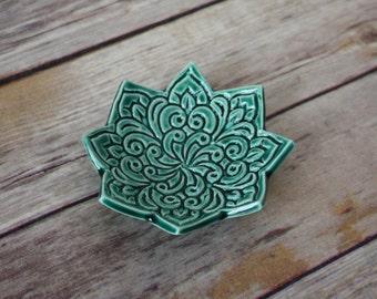 Emerald Green Dish - Bohemian Star Dish - Boho Pattern - Stamped Dish - Green Ring Dish - Green Jewelry Bowl - Emerald