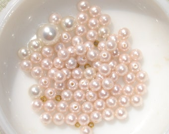 Light Pink Acrlyic  Pearl Bead Lot-  20 pcs - Jewelry Making Supplies
