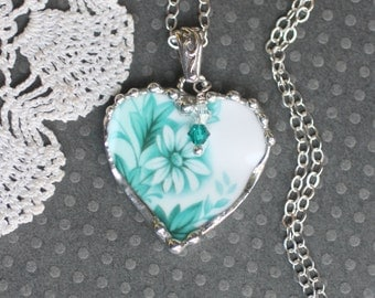 Necklace, Broken China Jewelry, Heart Pendant, Teal and White Daisy, Sterling Silver, Soldered Jewelry