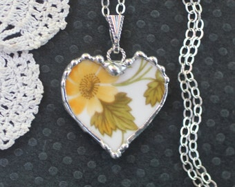 Necklace, Broken China Jewelry, Broken China Necklace, Heart Pendant, Yellow Flowers, Sterling Silver, Soldered Jewelry