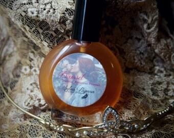 Natural perfume - rose vanilla jasmine leather musk - DAMSEL organic botanical perfume floral feminine flower scent