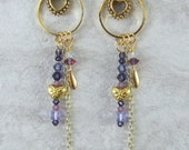 Handmade long gold tone heart earrings with purple Swarovski crystals, Valentine's Day, ready to ship, gifts for women, made in Montana