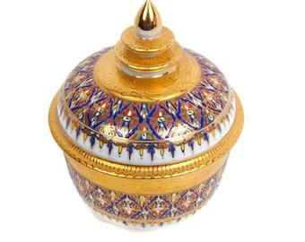 Vintage Benjarong Porcelain Lai Nam Thong Covered Bowl Ginger Jar Hand Painted Thailand 18K Gold Fine Porcelain Geometric Design