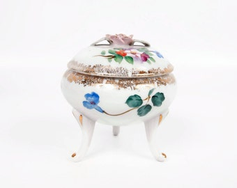 Vintage Footed Trinket Box Porcelain Jewelry Box Hand Painted Applied Pink Rose Brushed Gold Japan