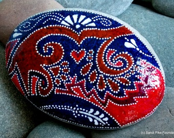 bandana skies / painted stones / painted rocks / rock art / paperweights/ boho decor / boho style / hippie / hand painted rocks / cape cod