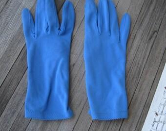 French Blue Vintage Gloves - Short Blue Gloves - Small-Medium Women's Fashion Gloves