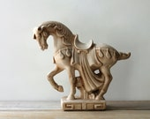 Classic horse vintage desk statue / cream white ceramic horse figurine / decorated war horse statue / horse collectible / equestrian gift