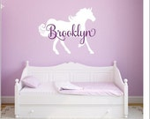 Personalized Horse Decal Horse Wall Decal Vinyl Horse Decal Girls Wall Decal Girls Horse Decal Vinyl Wall Decor Home and Living Nursery Room