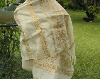 "Golden Thread on Ivory Cotton Fringed Scarf Shawl, Burlesque, Hippie, Beach, Scarf, Showgirl, 3"" Fringe"