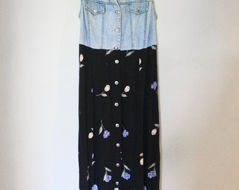 90s Vintage Floral Maxi with Sleeveless Denim Top