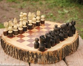 Hand-Turned Rustic Log Chess Set