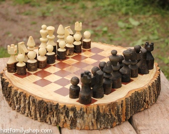 Hand-Turned Rustic Log Chess Set