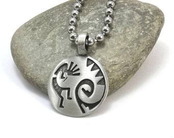 Kokopelli Necklace, Fertility Charm Pendant with Stainless Steel Chain - Native Kokopelli Pendant, Southwestern Jewelry