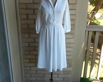 Vintage 70s Stretch White Shirt Dress Size Small