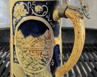Vintage 60's hand painted German beer stein
