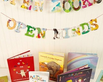 Board Book Open Books Open Minds Phrase Garland - Handmade - Made in the USA - Nursery - Baby Shower - Teacher