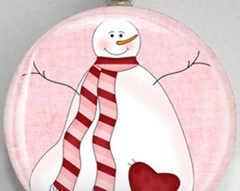 Interchangeable Magnetic Valentine's Day Snowman #31 Pendant Necklace Handmade