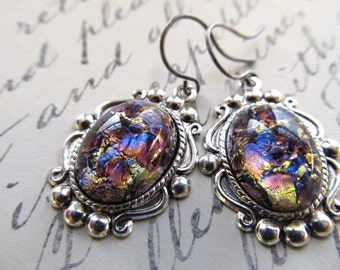 Opal Earrings Fire Opal Earrings Sterling Silver Earrings Opal Jewelry Art Deco Earrings Art Nouveau Earrings Purple Earrings- Precious