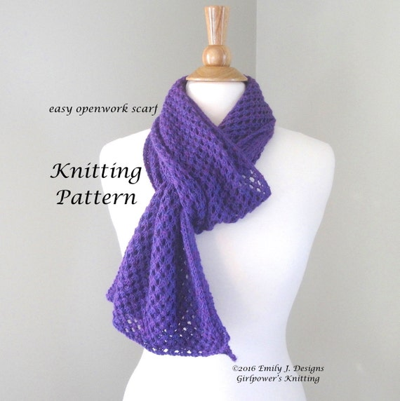 Simple Lace Knitting Pattern For Scarf : Easy Openwork Scarf Knitting Pattern Easy Lace Scarf Lace