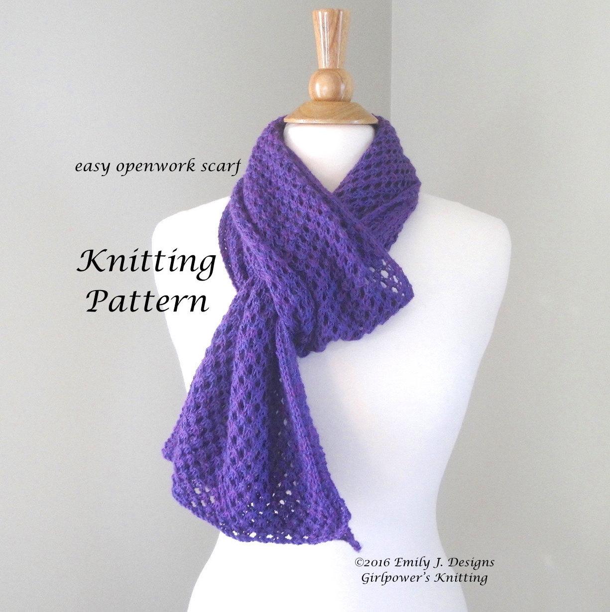 Open Knit Scarf Pattern : Easy Openwork Scarf Knitting Pattern, Easy Lace Scarf, Lace Yarn, Open Eyelet...
