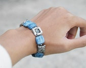 Kyanite bracelet. Boho jewelry. Blue kyanite. Ancient style. Pulsera con cianita. Pulsera azul. Square stones bracelet. Everyday bracelet.