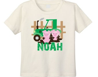 Tractor T-shirt, Tractor Birthday, Natural T Shirt,  Toddler Tractor Shirt, Green Tractor, Farm T Shirt, Pig TShirt, Goat T Shirt