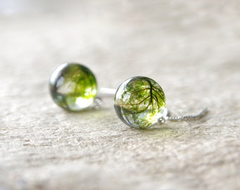 Real moss globe earrings - woodsy jewelry crystal resin - 925 sterling silver ear threaders
