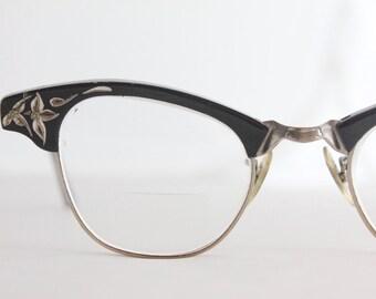 Vintage 50's Damaged Black 12K Engraved Aluminum Cat Eye Eyeglasses