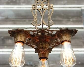FREE SHIPPING, Antique Ceiling Light, 1930's Virden Antique Chandelier, Vintage Lighting, Vintage Chandelier, Hall Light, Foyer Lighting