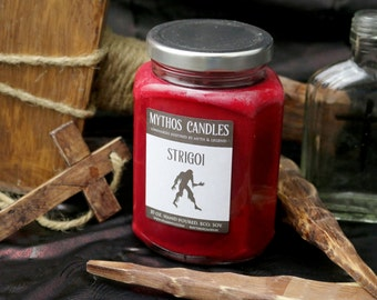 Mythos Candles - Strigoi | 10oz. Strong Scented Soy Candle | Cassia, Amber, Apple & Clover