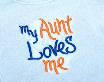 Baby Boy Bib My Aunt Loves me Embroidered Saying