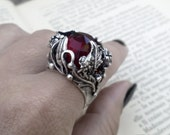 Red Gothic Ring Red Ring Red Stone Ring Oxidized Silver Adjustable Ring Unisex Ring Gothic Jewelry