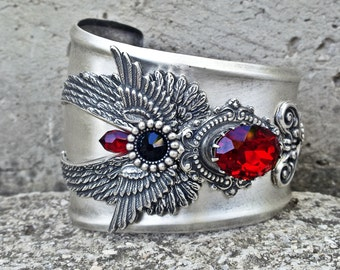 Silver Gothic Cuff Bracelet Wings Siam Red Swarovski Statement Cuff Steampunk Cuff Gothic Jewelry
