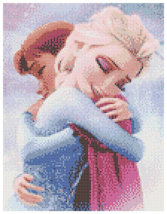 Elsa And Anna 2 - 14 Count Cross Stitch Chart / Kit