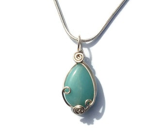 Amazonite Pendant in Sterling Silver / Dainty Wire Work Necklace / Light Blue Gemstone Necklace / Elegant Teal Stone Jewelry