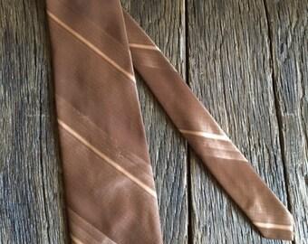 ON SALE Vintage Necktie - Brown Striped Polyester Tie