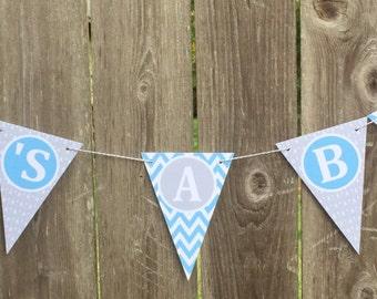 "FOLLOW YOUR ARROW Baby Shower Banner ""It's a Boy"" Light Blue Gray - Party Packs Available"