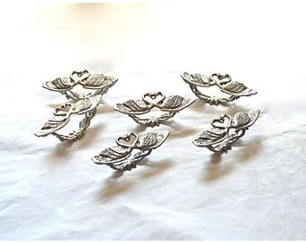 Six 1980s Napkin Rings Silvery Pewter Swans and Hearts