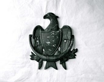Black Eagle Door Knocker Vintage Iron Classic Chippy Black
