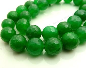 10mm Dark Sea Green Jade Faceted Gemstone Beads - 15.5 Inch Strand - BF38