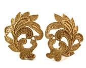 Vintage YSL Yves Saint Laurent Leaf Lace Pattern Earrings