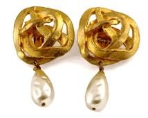 Vintage EDOUARD RAMBAUD Knotted Pearl Drop Earrings