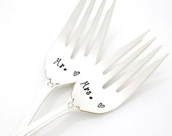 Wedding Silverware. Mr and Mrs Forks. Hand Stamped wedding forks by Milk & Honey ®